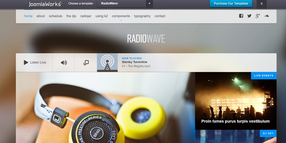 joomla radio website design
