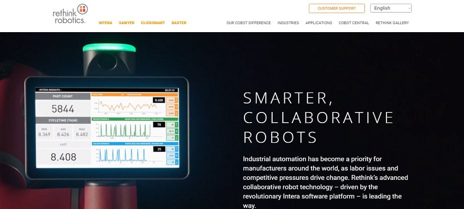 Rethink Robotics industrial website