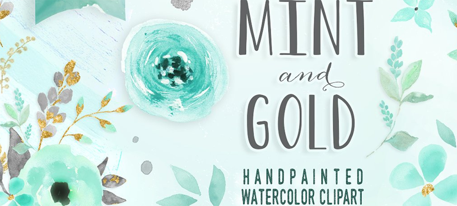 Mint & Gold – Flower Clipart
