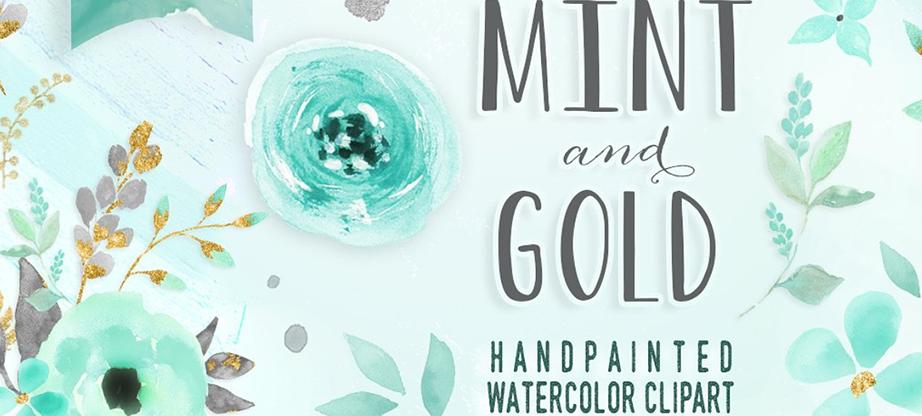 Mint & Gold – Flower Clipart