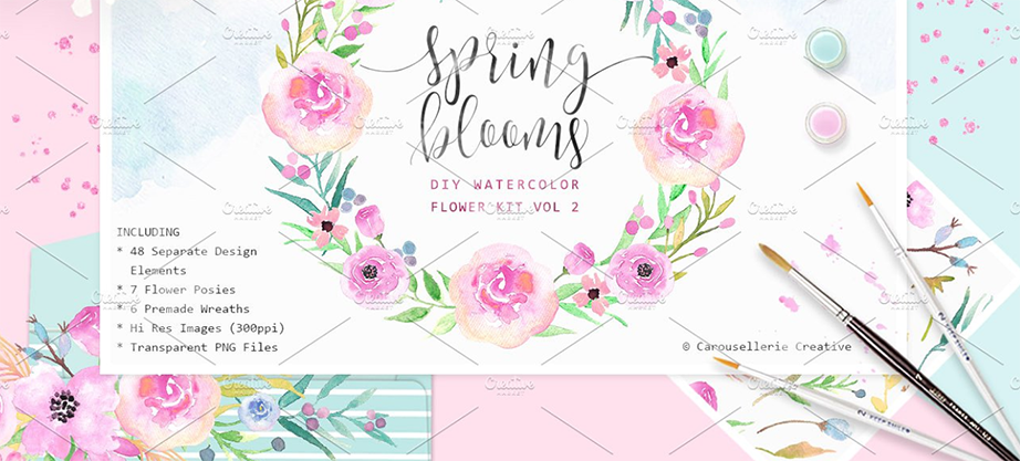 Spring Blooms – Watercolor Flowers