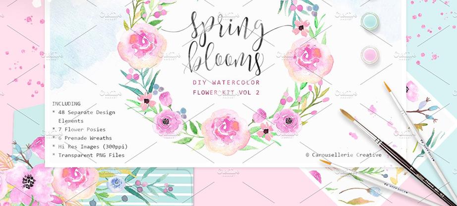 Spring Blooms – Watercolor Flowers