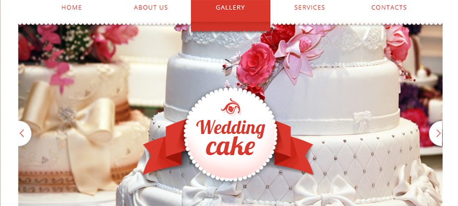 Wedding Cakes Website Template with Pink Background
