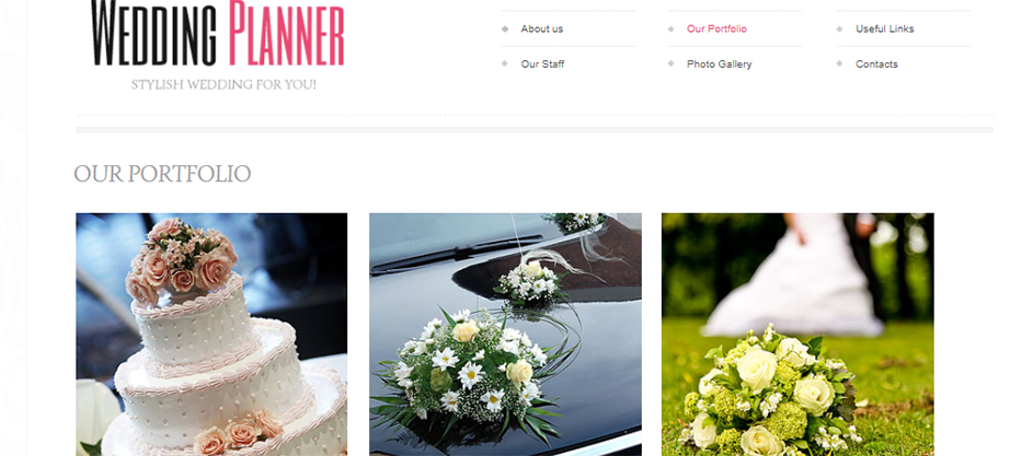 Wedding Planner Website Template with Gentle Colors and White Space
