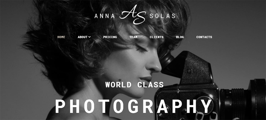 Anna Solas - Photographers Portfolio Website Template