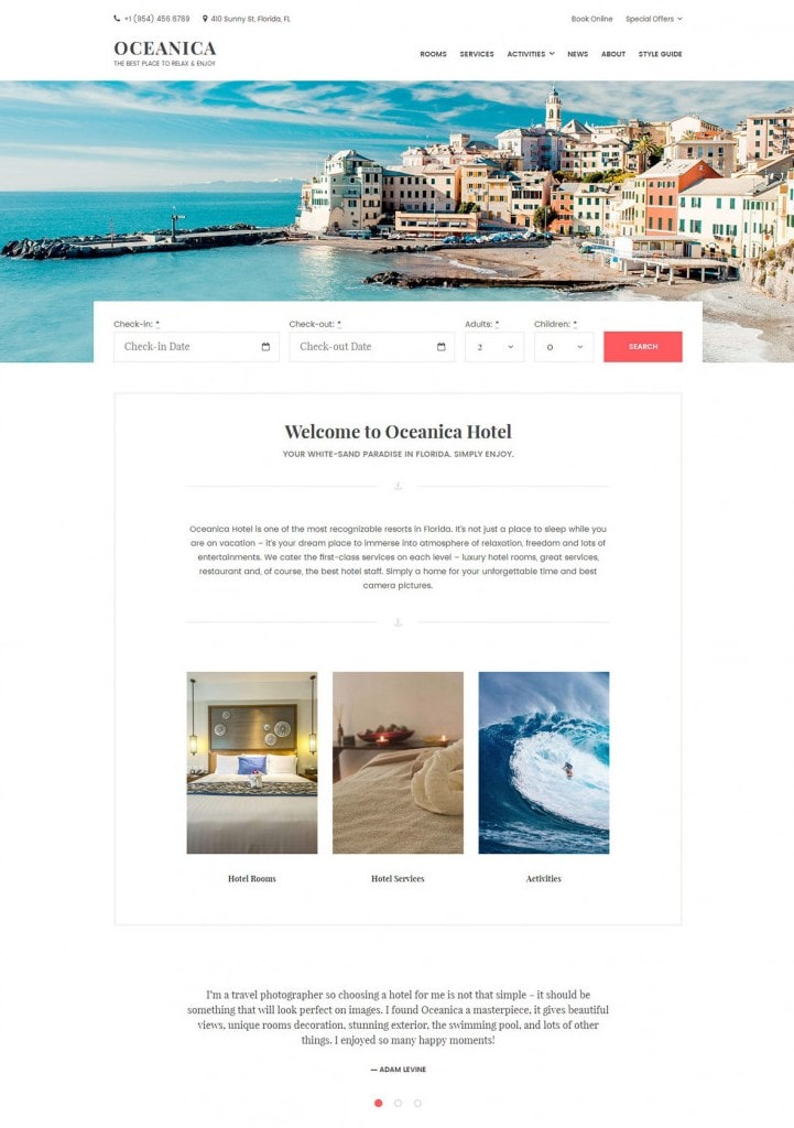 hotel theme wordpress oceanica