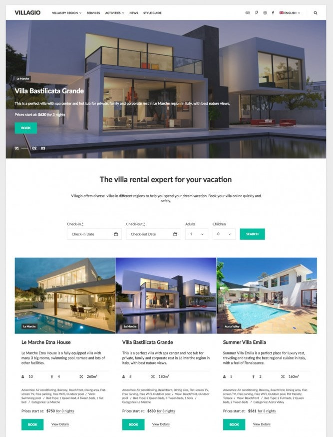 hotel theme wordpress villago