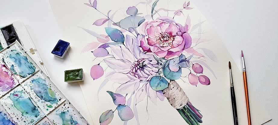 watercolor flower clipart main image
