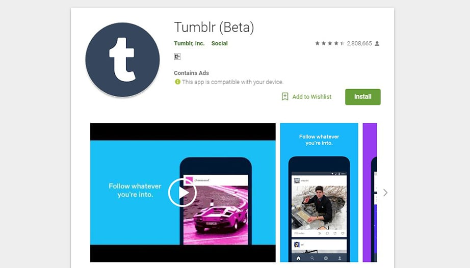 Tumblr social media apps image