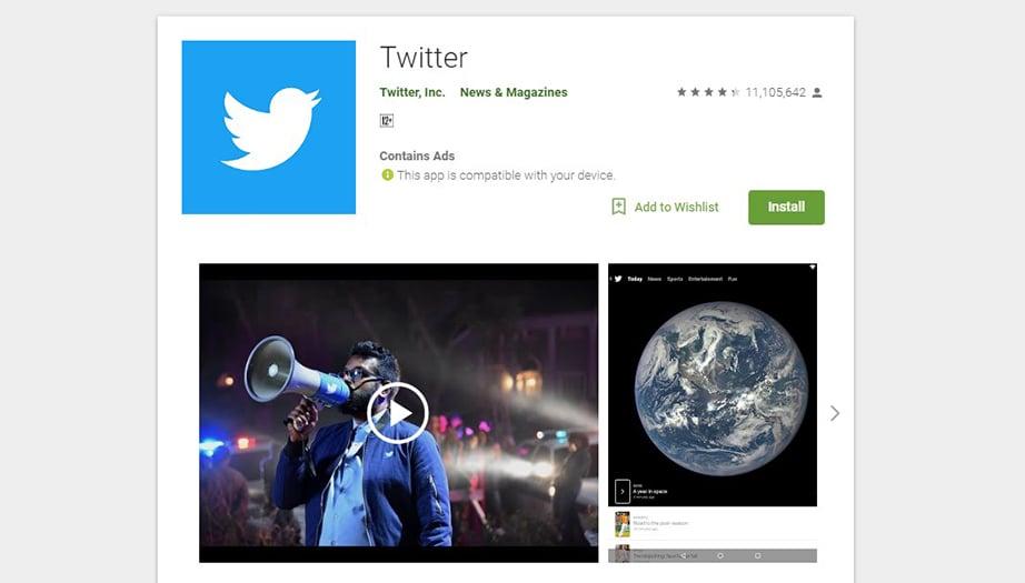 Twitter social media apps