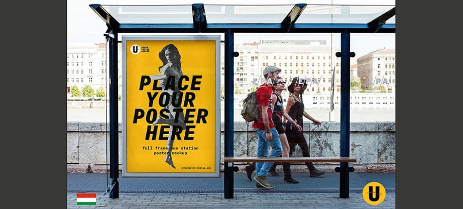 Bus Station Poster Mockup PSD