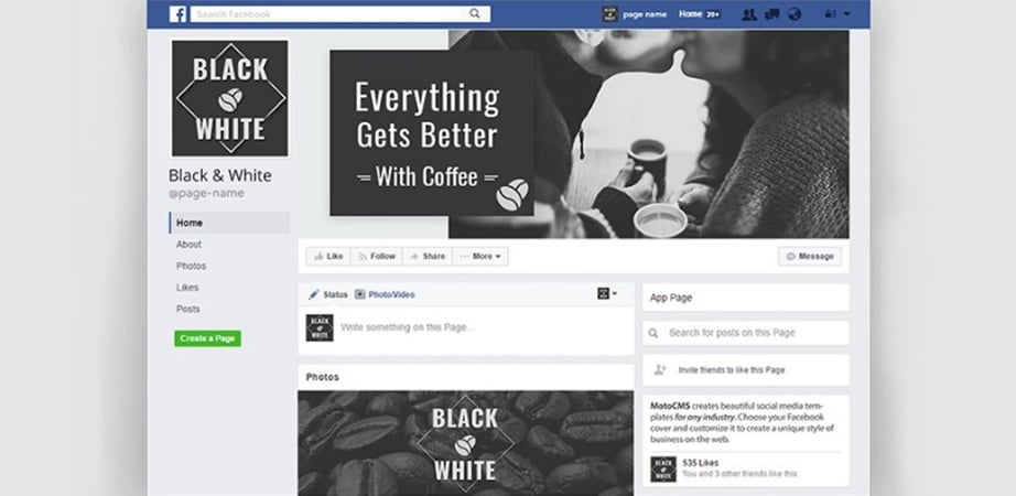 cofe shop creative facebook cover