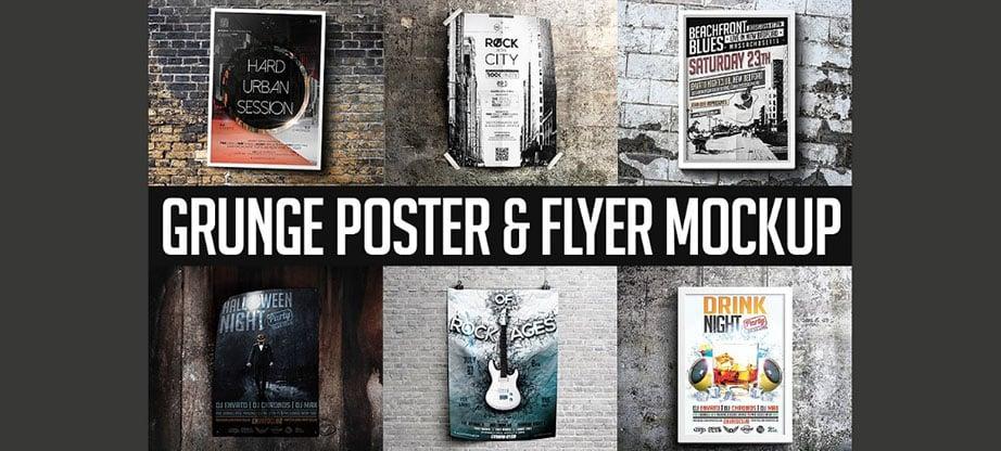 Grunge PSD Mockup Poster & Flyer