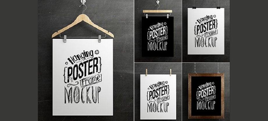Hanging Poster PSD Frame Mockup