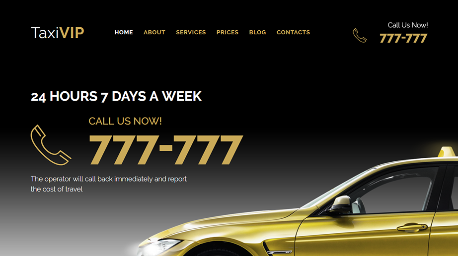 Taxi Vip Responsive Website Template