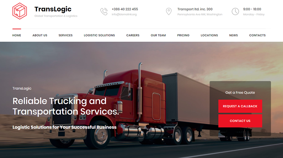 logistic web template transportation homepage image