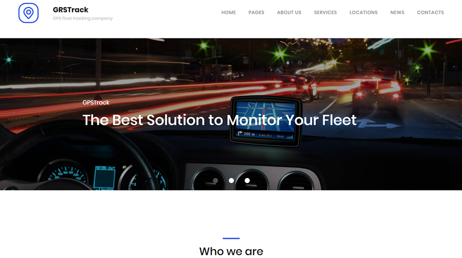 logistic web template GPS fleet tracking homepage image