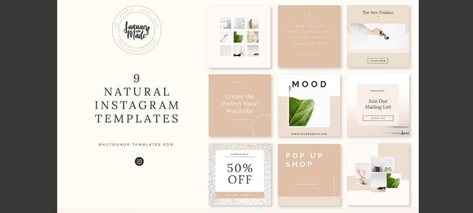Natural Instagram Post Template Package
