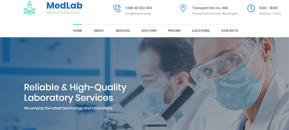 Medical Laboratory Website Template for Clinical and Science Lab