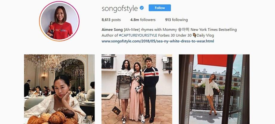 Aimee Song Instagram Account