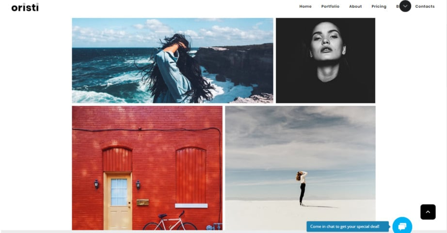 Oristi - Photographer Masonry Portfolio Website Template