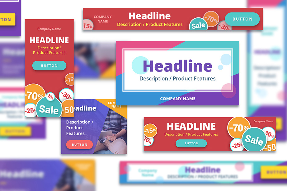 Banner Set for Google Adwords design bundle image