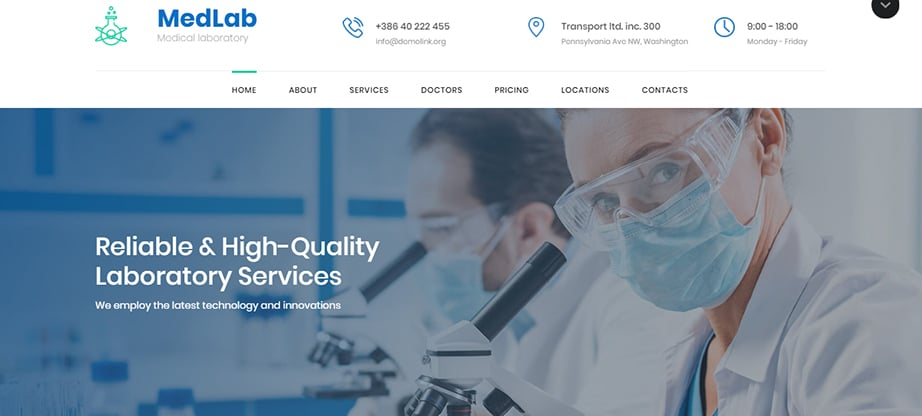 medical laboratory website builder and hosting
