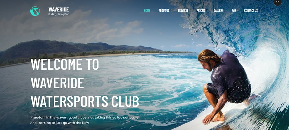 surfung and summer sports website builder and hosting
