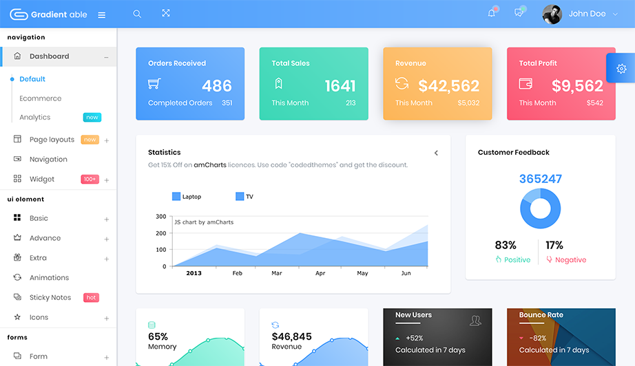 gradientable admin template image