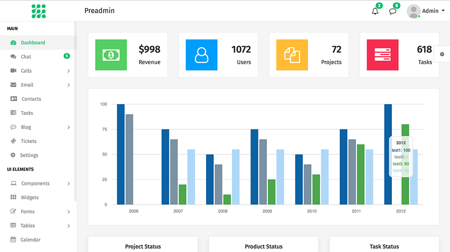 preadmin bootstrap admin panel template download