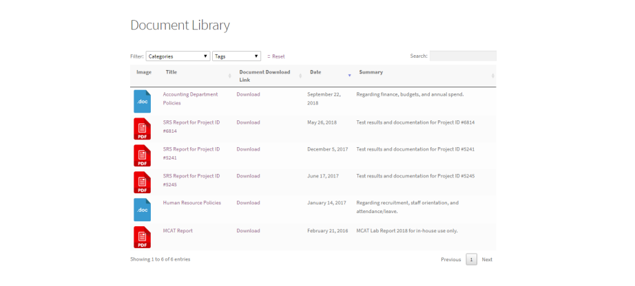 document library preview
