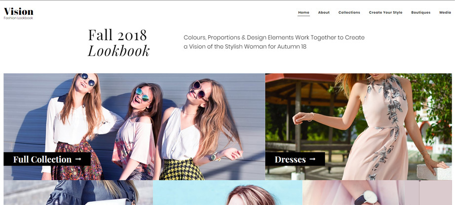 vision lookbook website template motocms