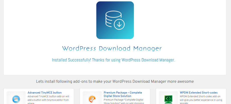 wordpress-download manager activated
