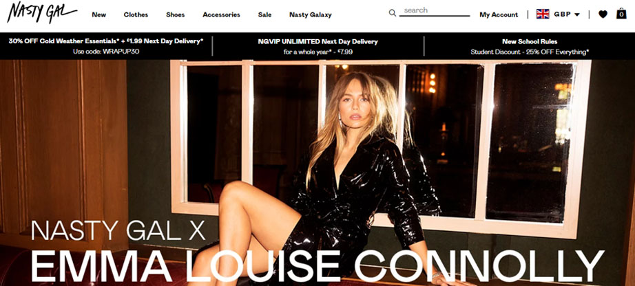 Nasty Gal fashion website