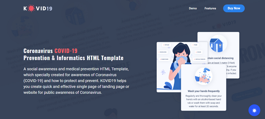 KOVID19-Coronavirus-COVID-19-Prevention-Awareness-HTML-Template